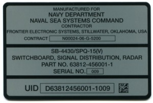 Metalphoto®  Aluminum Naval UID Plate with Adhesive Backing