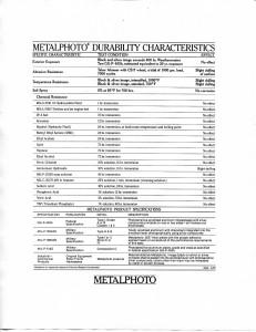 Metalphoto Characteristics