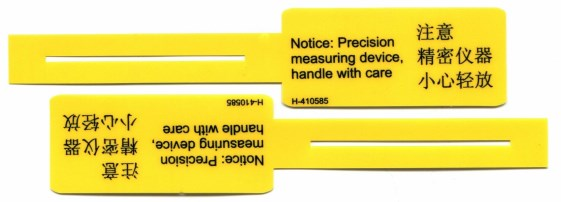 Yellow Polycarbonate Tag with Bi-Lingual Text
